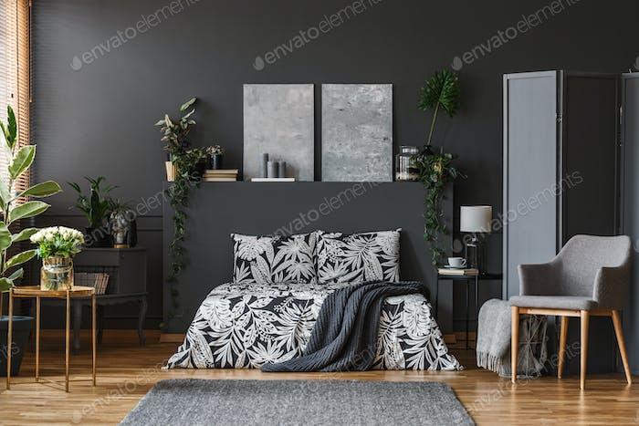 Dark grey bedroom interior