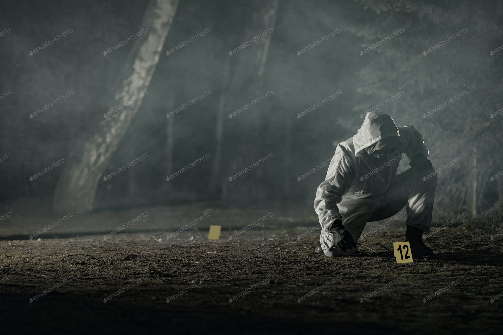 Crime Evidence Markers Placing By Forensic Officer Photo By Duallogic On Envato Elements