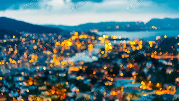 Blurred Architecture Background of Bergen, Norway.