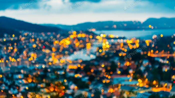 Unscharfe Architektur Hintergrund von Bergen, Norwegen.