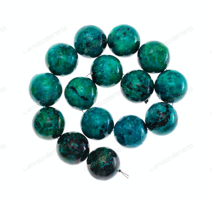 spiral string of beads from chrysocolla gemstone