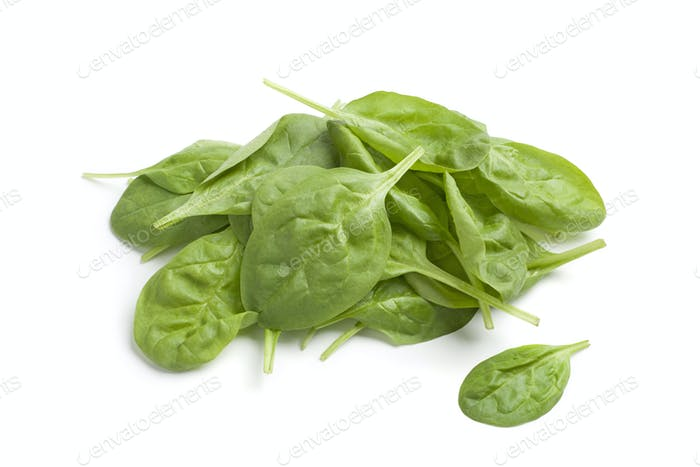 Fresh raw spinach leaves
