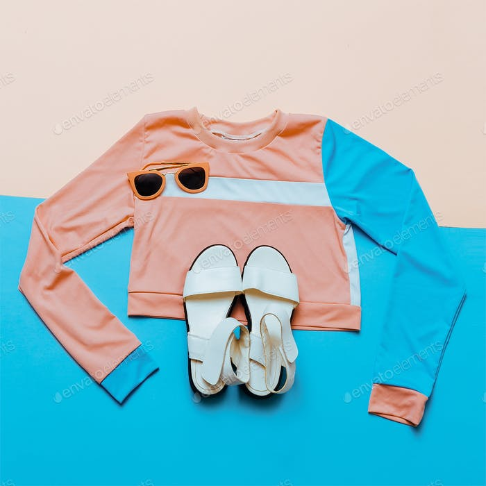 Stylish sports blouse. Geometry. Creative. Minimal. White Sandal