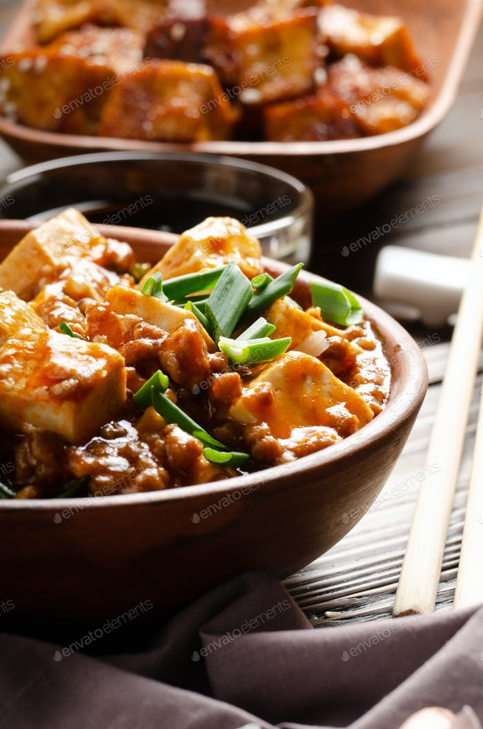 Chinese food mapo tofu dish with pork chives soy sauce sichuan pepper