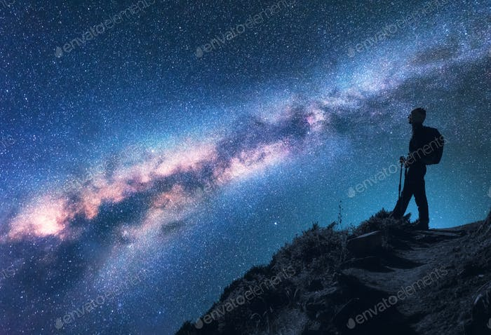 Space, Milky Way, silhouette of a woman with backpack