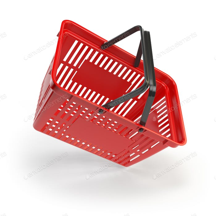 Empty shopping basket isolated on white background