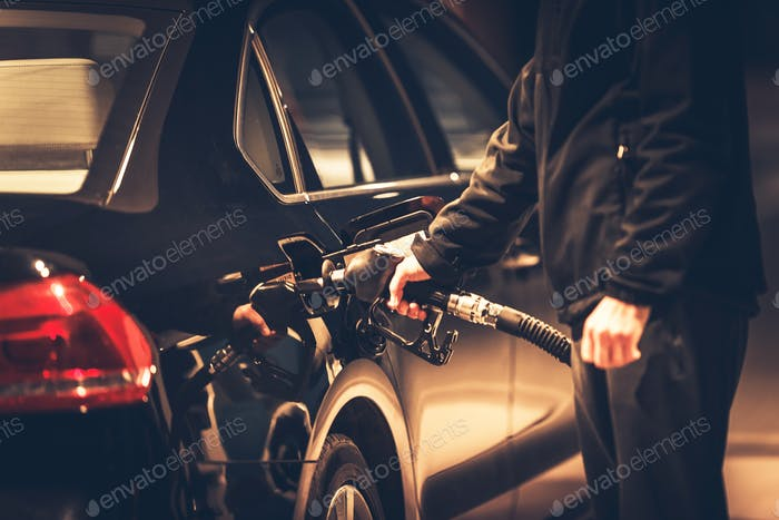 Men Refueling His Diesel Car
