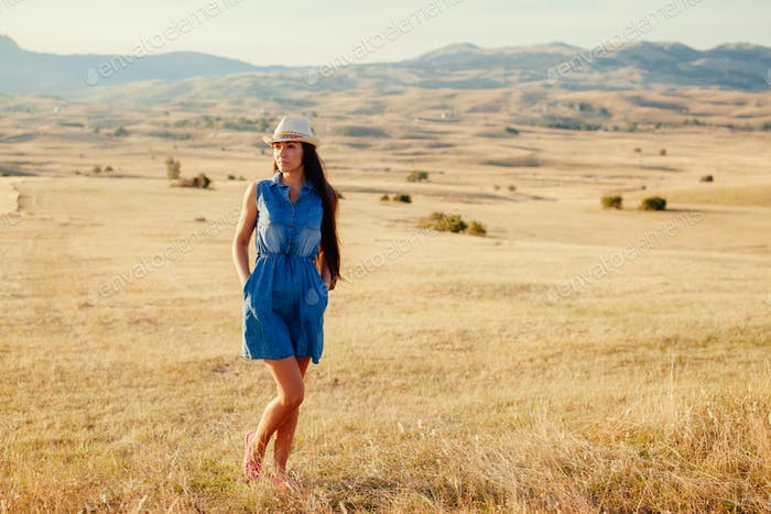 sexy woman travel countryside alone