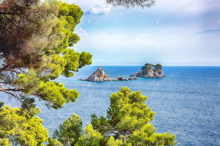 Beautiful view of Adriatic sea with small islet Sveta Nedelja.