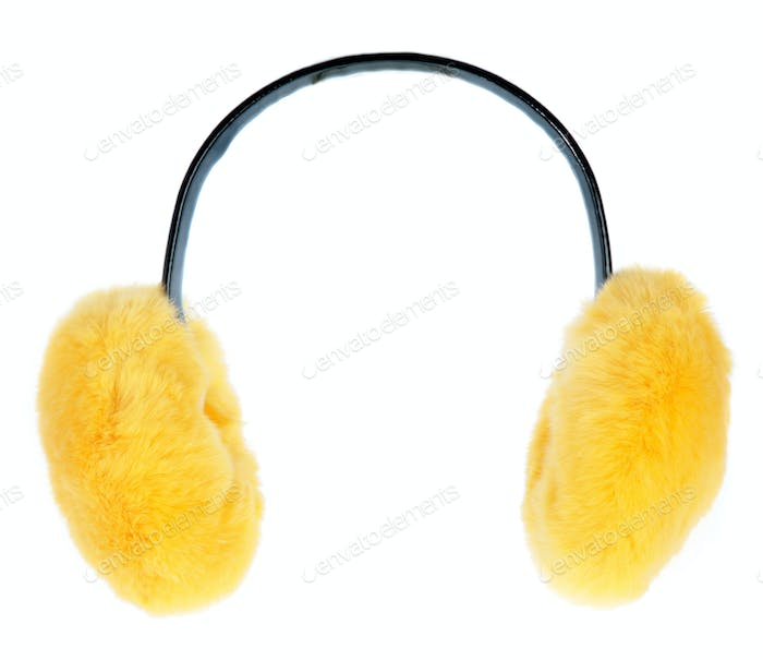 Yellow ear-flaps on a white background