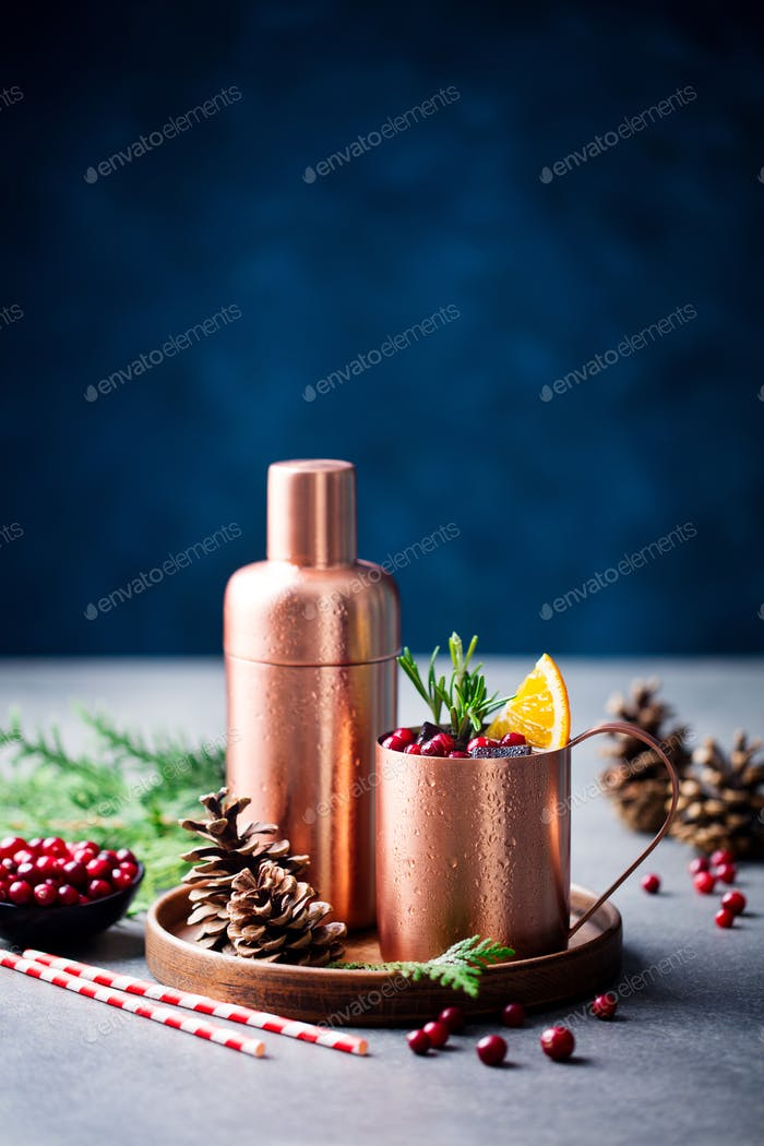 Moscow Mule Cocktail Set, Ingredients for Christmas and New Year Holiday Drink. Copy Space.