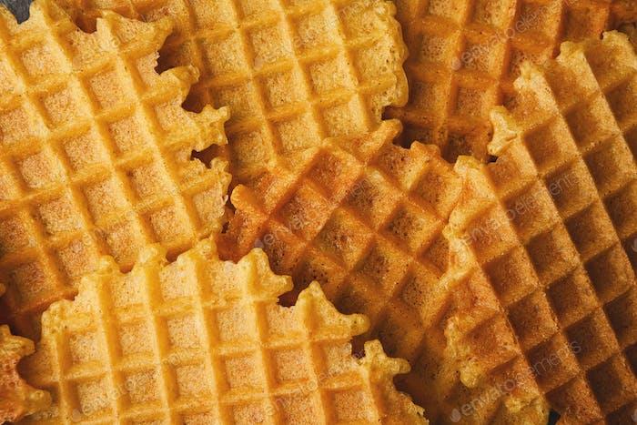 Wholegrain belgium waffles closeup