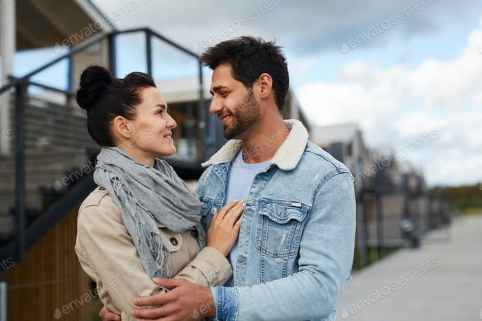 Happy couple in love outdoors