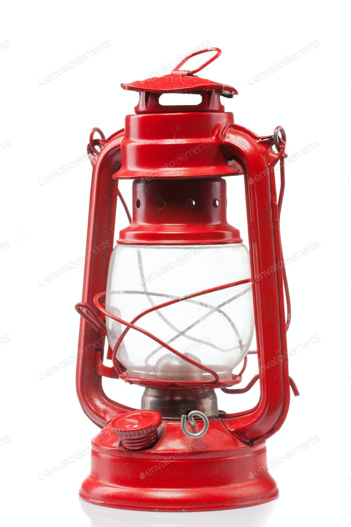 Red vintage gas lamp isolated on white