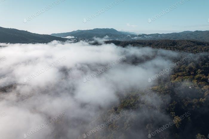 morning fog in the mountains rainy season
