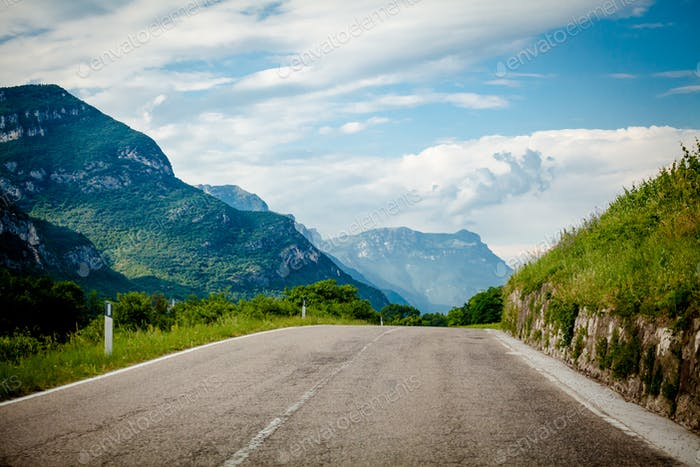 highland road.  road in mountains