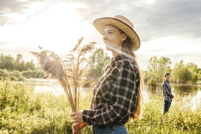 Closeup portrait of girl in hat.