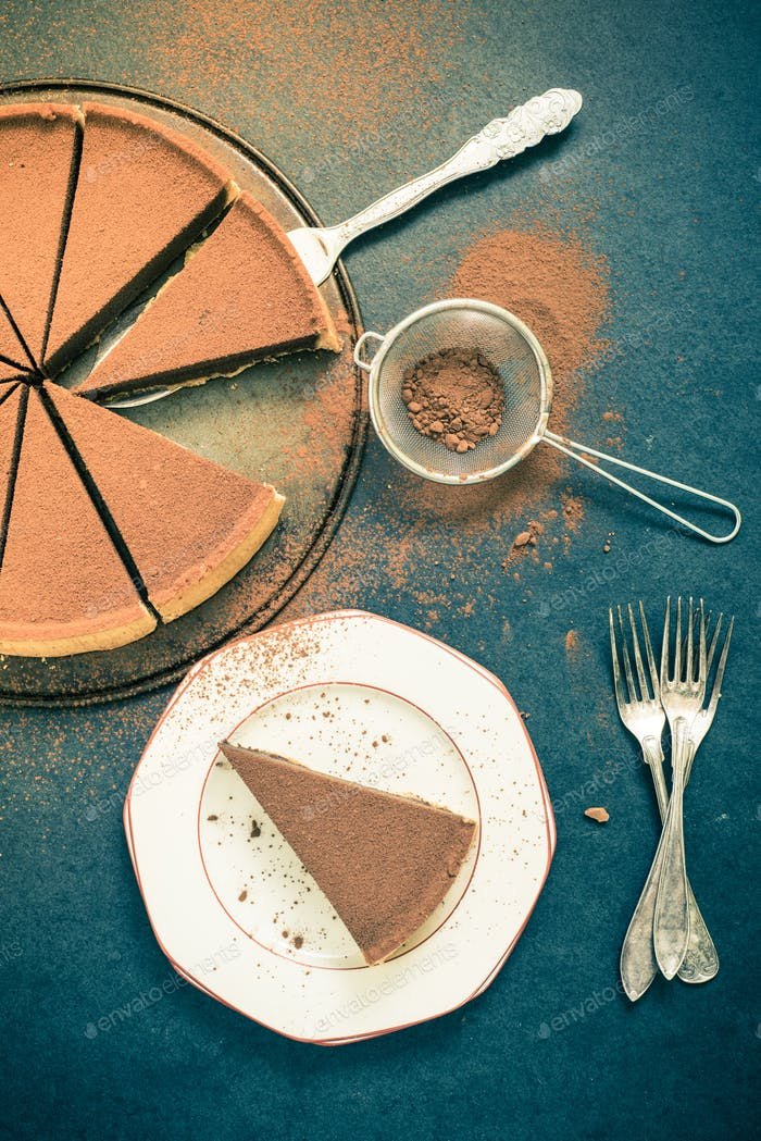 serving chocolate tort , vintage tonned effect