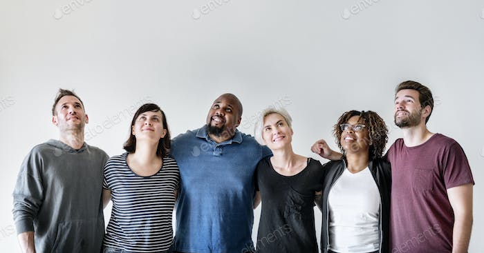 Happy diverse friends