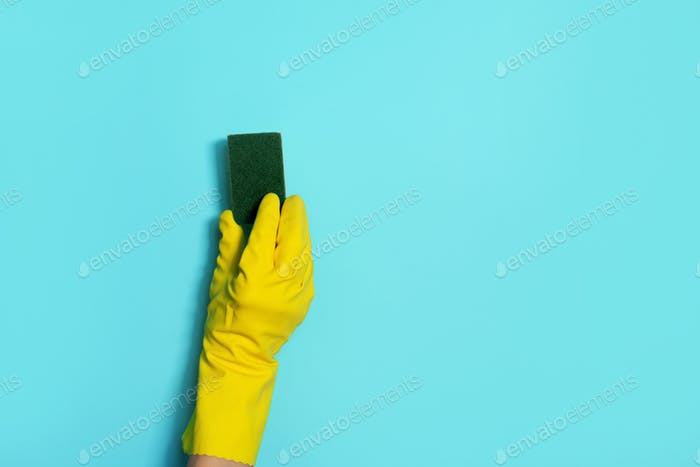 Hand in glove holding microfiber cleaning cloth, sponge on blue background. Copy space. Cleaning