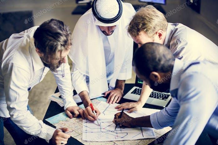 International business meeting about railways