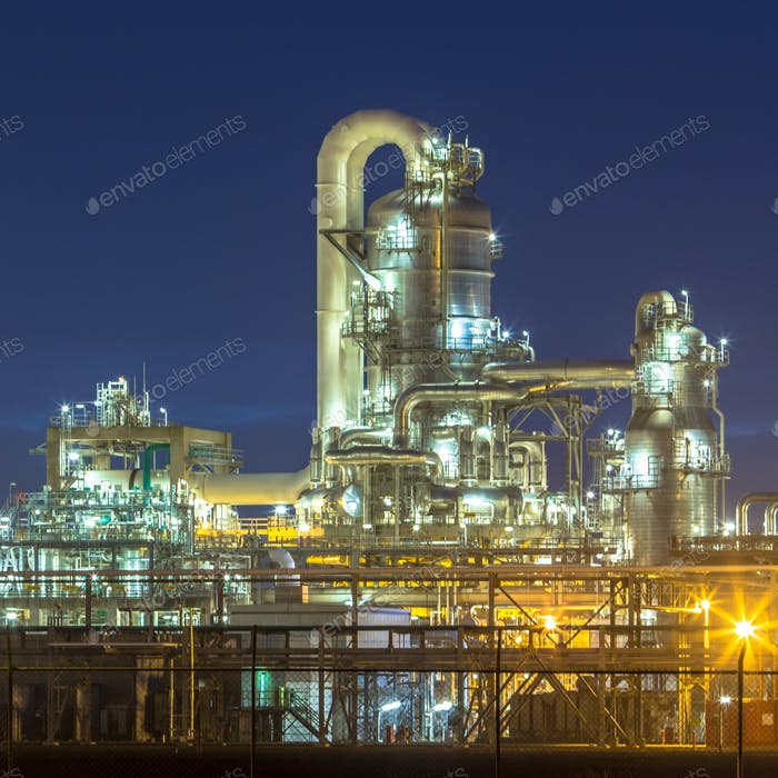 Illuminated petrochemical industry in the dark