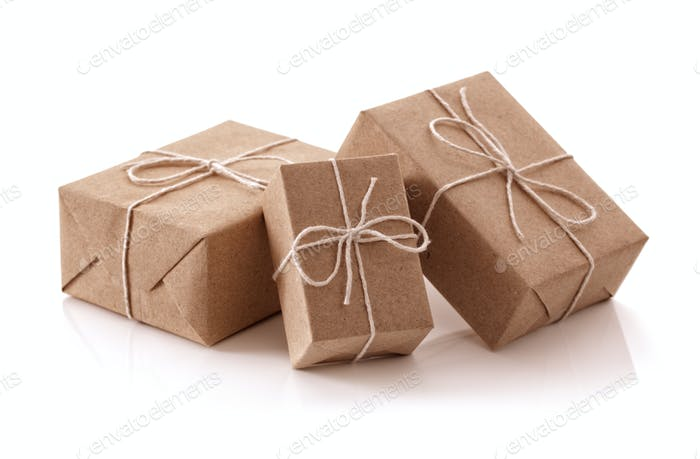 Brown recycled paper gift parcels