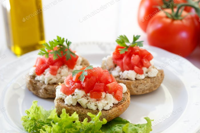 Bruschetta with tomato and feta cheese