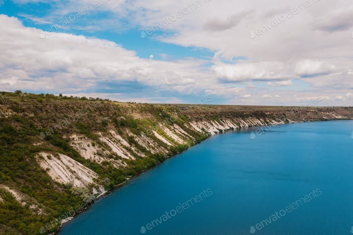 Top view of landscape river in nature with sky in background
