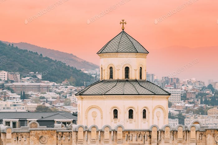 Tbilisi, Georgia. Exterior Of The Holy Trinity Cathedral of Tbil