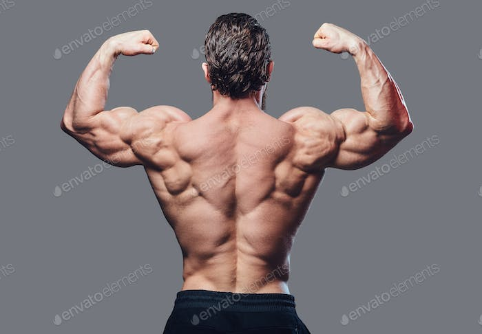 Image of a bodybuilder from a back.