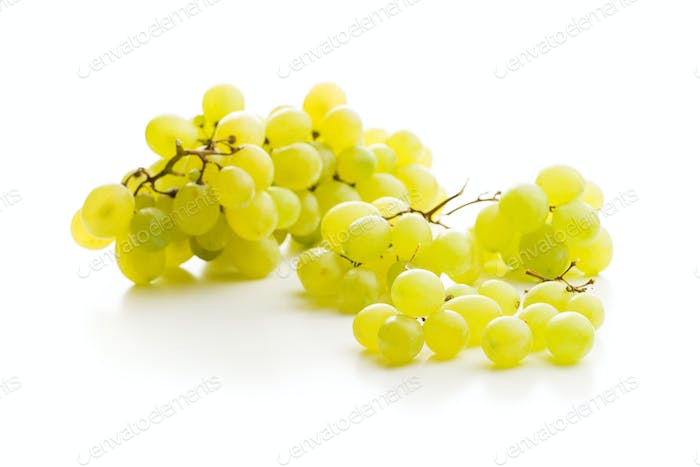 Tasty green grapes. White grape.