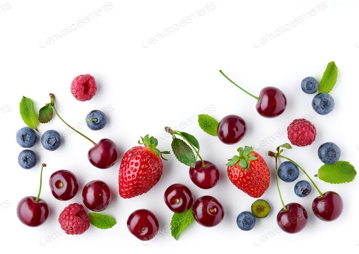 fresh berries on white background
