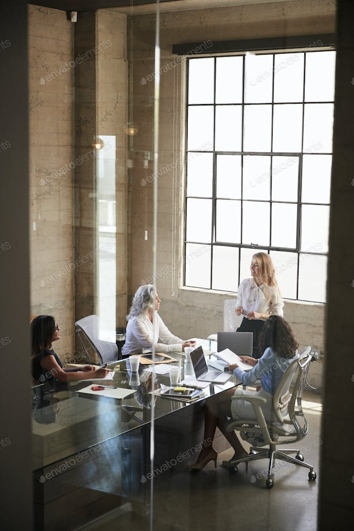 Businesswoman addressing colleagues in meeting, seen through window