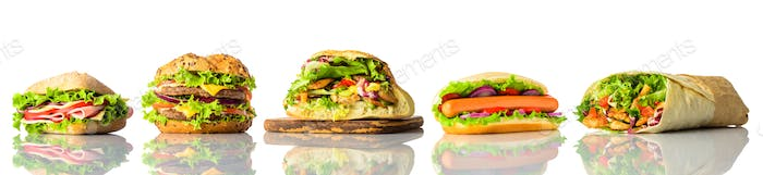 Sandwich and Burger Collage on White Background