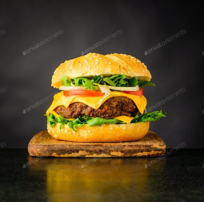 Cheeseburger Sandwich on Dark Background