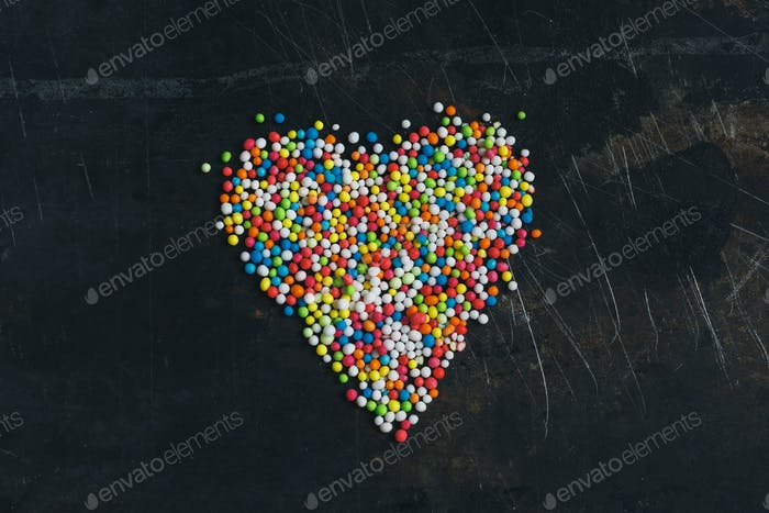 Colorful Sugar Balls in the form of heart.