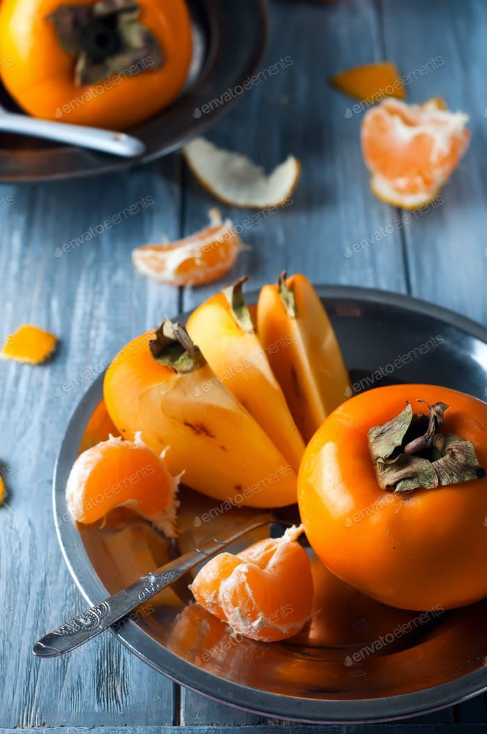 Delicious fresh persimmon fruit