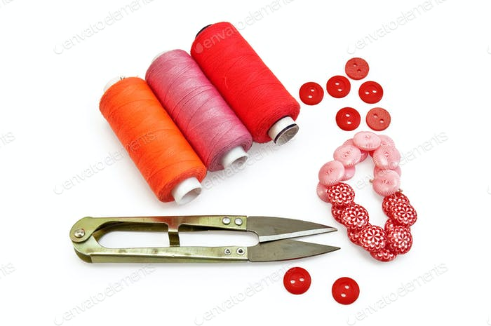 Sewing accessories red
