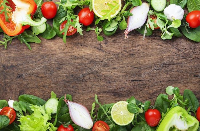 Ingredients for cooking salad. Vegetarian and vegan food concept