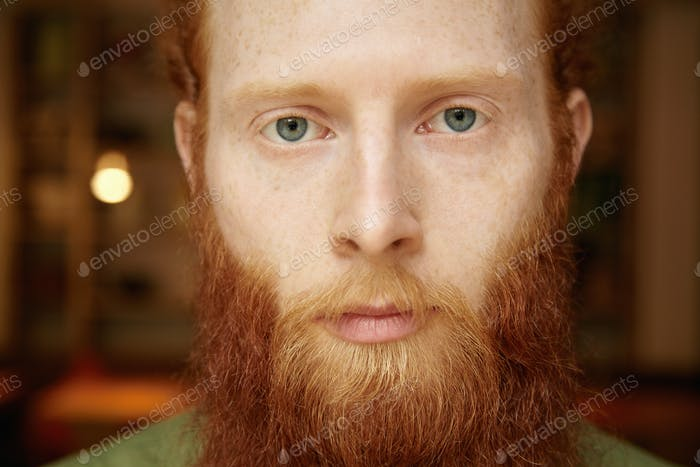 Highly-detailed portrait of good-looking Caucasian hipster with long red beard, beautiful blue eyes