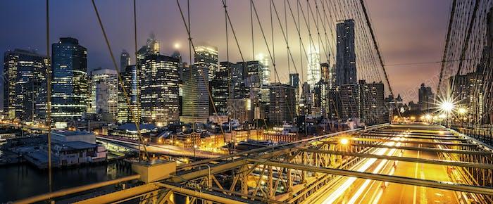 View of Brooklyn Bridge at sunset