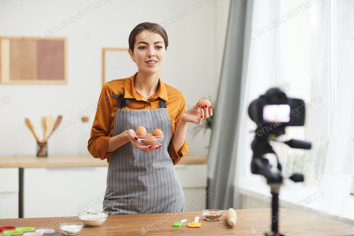 Woman Filming Cooking Video