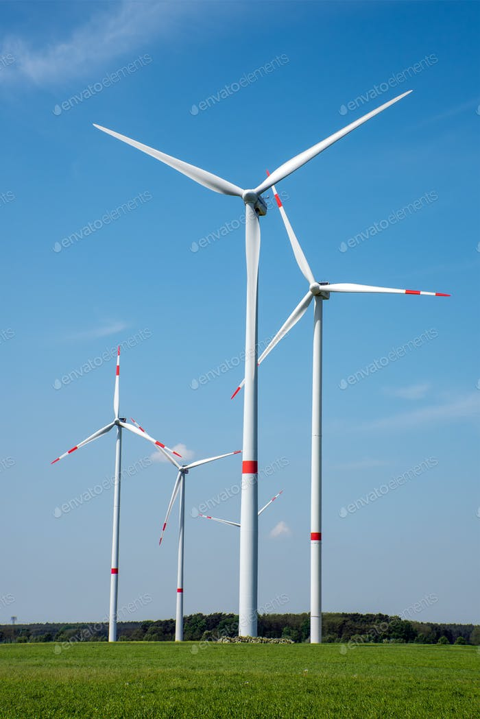 Wind power plants in the fields