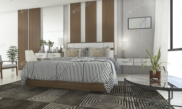 3d rendering beautiful bedroom with nice terrace