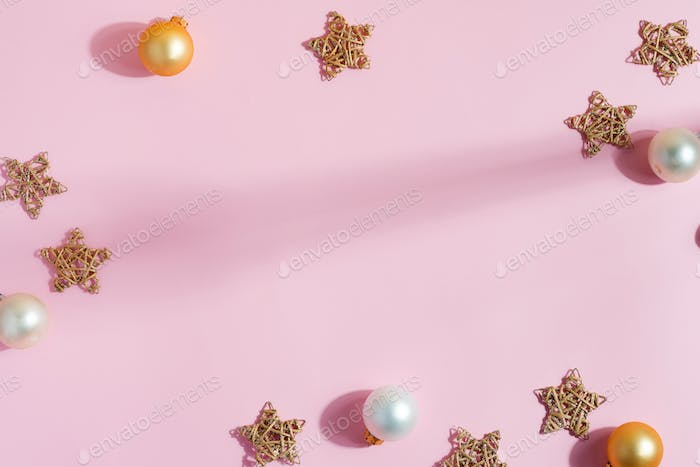 Decorative Christmas frame from shiny balls and stars