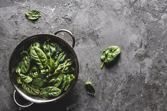 Frischer Mini-Spinat in einem Sieb auf dem alten Betontisch. Gesunde Lebensmittel, Öko-Produkt. Vegan