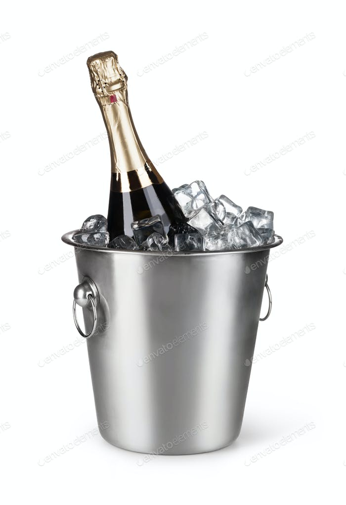 Champagne bottle in a bucket with ice