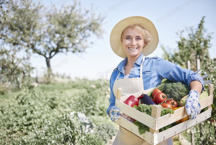 Proud woman on her organic farm