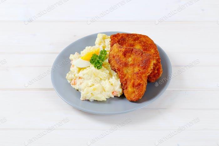 schnitzels with potato salad